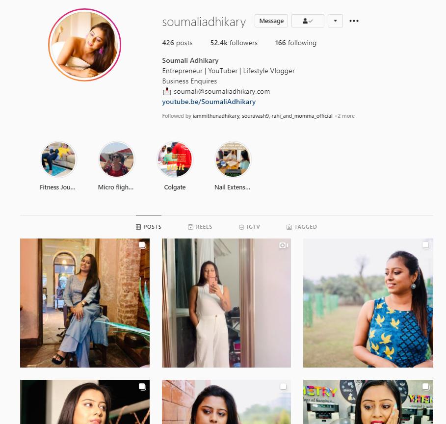 Soumali Adhikary Instagram